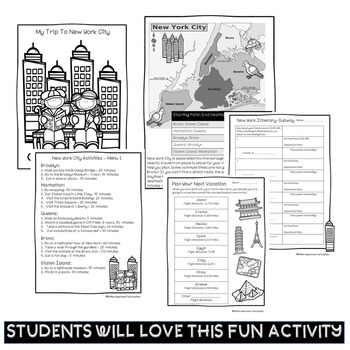 Plan A Vacation Project Based Learning Math 4th Grade