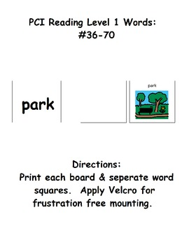 PCI level 1 words: Activity Boards for 36 thru 70 (ESE) by