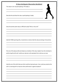 Pe Non Participants Observation Worksheet By Stephen