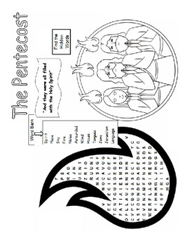 PENTECOST WORD SEARCHES, BUNDLE 5 PAGES, PENTECOST
