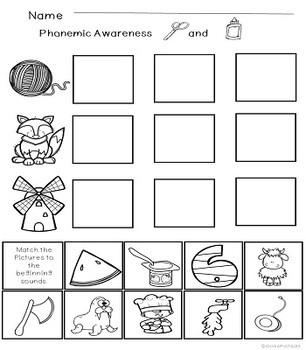 Beginning Sounds Phonemic Awareness Worksheets for