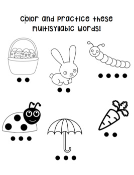 COLOR & PRACTICE: Spring-Themed Multisyllabic Words by