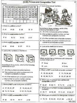 Prime and Composite Numbers Tests (21 worksheets) by