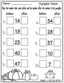 PUMPKIN NUMBER ORDER MATH CENTER GAME WORKSHEET AND ANSWER
