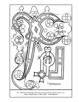 Page from the Book of Kells. Coloring page and lesson plan