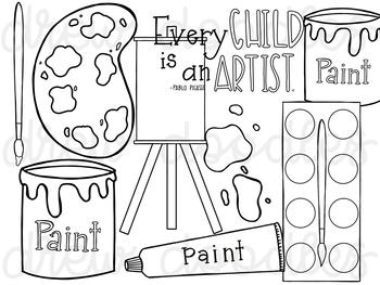 Paint Art Supplies Digital Clip Art Set- Black Line
