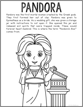 Pandora, Greek Mythology Informational Text Coloring Page