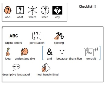 Paragraph Story Map Template and Checklist for Who What