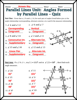 Angles And Parallel Lines Worksheet Answers : angles, parallel, lines, worksheet, answers, Parallel, Lines, Angles, Formed, Transversals
