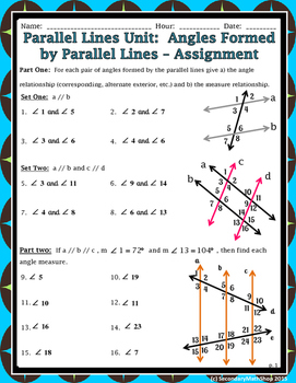 Worksheet Section 3 2 Angles And Parallel Lines Answer Key : worksheet, section, angles, parallel, lines, answer, Parallel, Lines, Angles, Formed, Investigation,, Summary, Notes