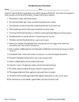 Parallel Structure Worksheet : parallel, structure, worksheet, Parallel, Structure, Worksheet, Tutoring
