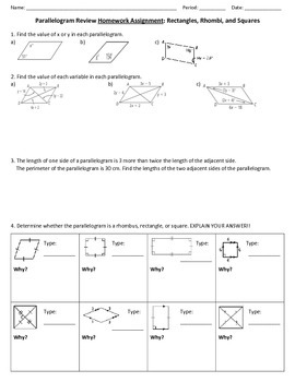 Parallelogram Review Worksheet By Ms B S Math Warehouse