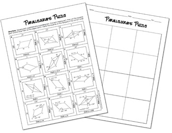 Properties of Parallelograms Cut and Paste Puzzle by All