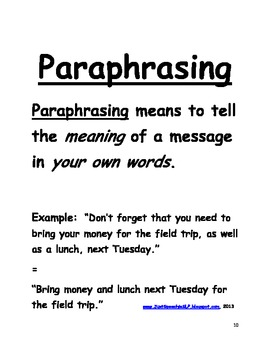 Paraphrasing Key Details in Sentences FREEBIE by Just