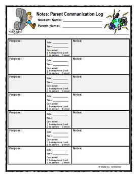 Parent-Teacher Communication Log and Documentation Sheet