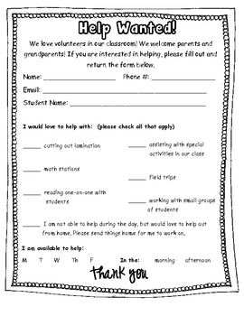 Parent Volunteer Information Sheet by Thats So Second