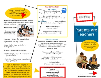Parents Are Teachers Family Literacy Brochure In WORD TpT
