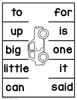 Parking Lot Game- Sight Word and Number Recognition