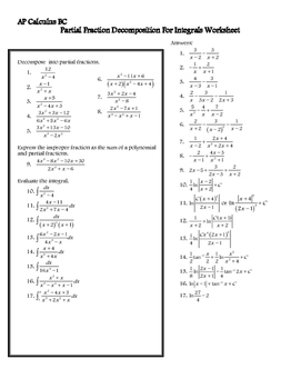 Partial Fraction Decomposition Worksheet for Integrals