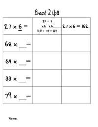 Partial Product Worksheet by SAD's Joy | Teachers Pay Teachers