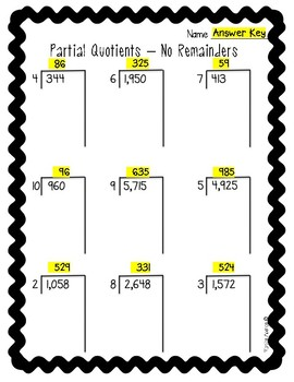 Partial Quotients Worksheets By Monica Abarca