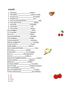 Partitif (French Partitive Article) Worksheet 5 by jer520