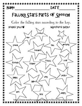Parts of Speech coloring- noun, verb, adverb, adjective