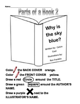 Parts of a Book Activity version 2 by