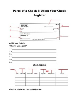 Parts Of A Check Diagram : parts, check, diagram, Keeping, Check, Register, Worksheets, Teaching, Resources