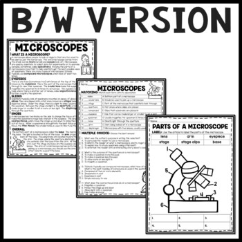 Parts of a Microscope Overview Reading Comprehension and