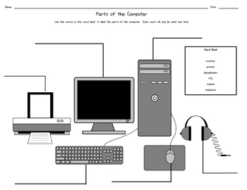 Parts of the Computer Worksheet by Down to the Wire