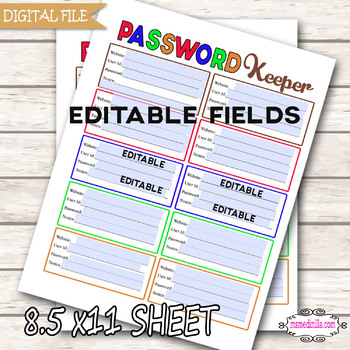 Password Keeper Printable for students Password Password Log Letter Size PDF