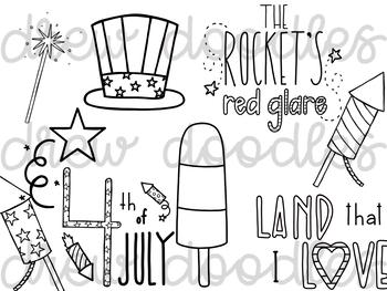 Patriotic Doodles Digital Clip Art Set- Black Line Version