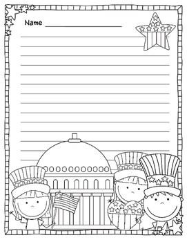 Patriotic Themed Writing Paper 4th Of By Lisa Sadler Teachers Pay Teachers
