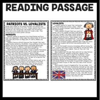 Patriots vs. Loyalists Reading Comprehension Worksheet