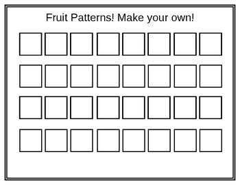 Pattern mats: Fruit, shapes, sounds, & unifix cubes by