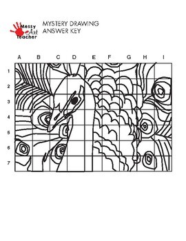Peacock Mystery Grid Drawing Worksheet for Middle/High
