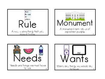 Pearson My World Social Studies Vocabulary Cards with
