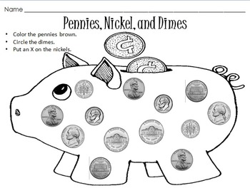 Penny, Nickel, and Dime Coin Identification Worksheet by