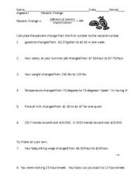Percent Change practice worksheet by Amanda Lee | TpT