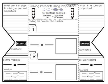 Percent Proportions Foldable Graphic Organizer by
