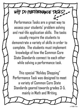 Performance Task {Holiday Shopping} FREEBIE! by Michelle