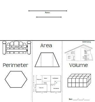 Perimeter, Area, Volume Foldable Graphic Organizer by
