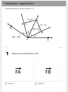 Perpendicular and Angle Bisectors- digital assignment for