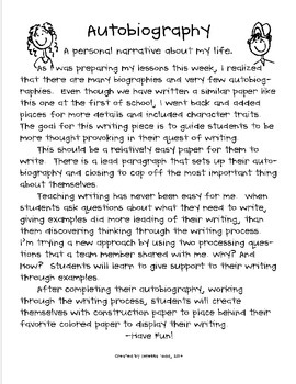 Personal Narrative Autobiography By Teressa Todd TpT