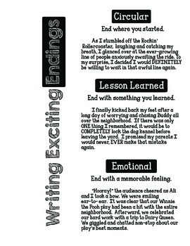 Personal Narratives: Writing Leads & Endings by