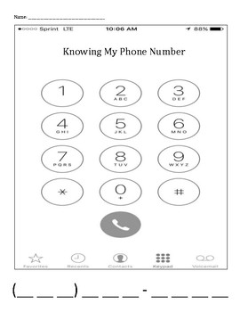 Personal Safety: Knowing My Phone Number children