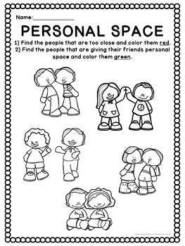 Personal Space: Social Skills Worksheets, Activities