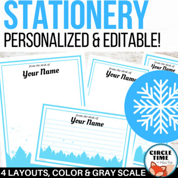 personalized editable stationery winter