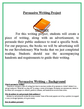 Persuasive Writing Project  Book Advertisement  Essay  Common Core Aligned